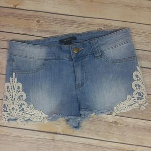 Forever 21 Jean shorts with cute white lace